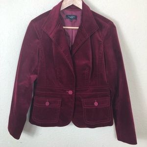 Talbots red velvet one button blazer 8